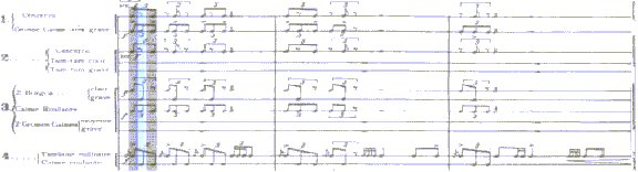 segment from the original score of Varese's Ionisation